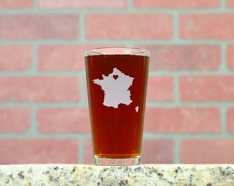 Custom Pint Glass. Pick Any Country and Place the Heart Anywhere. Beer Glasses. Beer Gifts. Drinkware. Personalized Beer Glass