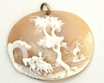 Antique Unframed High Relief Landscape Carved Shell Cameo Pendant