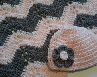 baby girl shower gift, newborn girl gift set, delicate pink and grey gray baby blanket, crocheted blanket, photo prop, READY TO SHIP