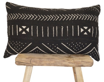 """Authentic African Mudcloth Black With White Patterned Lumbar Pillow Covers 26""""x16"""""""