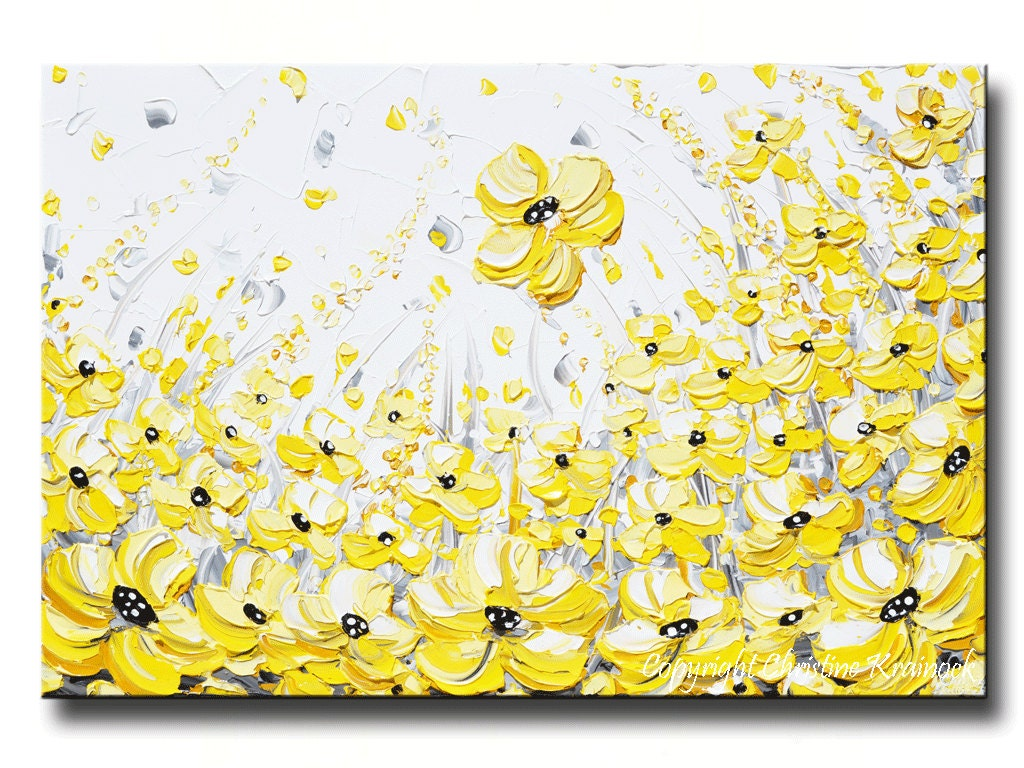 GICLEE PRINTS Large Art Yellow Grey Abstract Painting Wall
