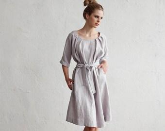 Gewassen en zacht linnen jurk met mouwen Corfu. 15 kleuren. Linnen womens kleding.