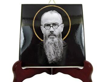 Saint Maximilian Kolbe - catholic saints serie - catholic ceramic icon - St Maximilian Kolbe - catholic saint - religious icon - St Kolbe