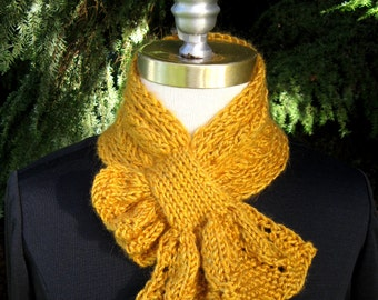 Gold Scarflette with Leafy Frill Hand Knitted Accessory Pass Through Scarf