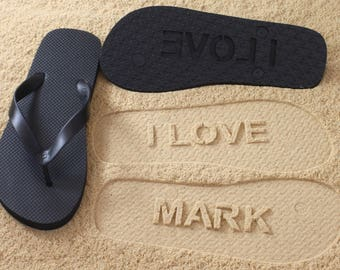 I LOVE NAME - Personalized Custom Sand Imprint Flip Flops *check size chart, see 3rd product photo*