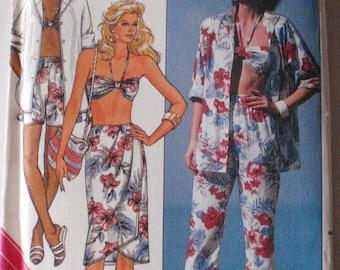 SALE - Summer Clothes Sewing Pattern -  Shirt, Wrap Skirt, Pants, Shorts, Bra - Butterick 3912 - Sizes 6-8-10, Bust 30 1/2 - 32 1/2, Uncut