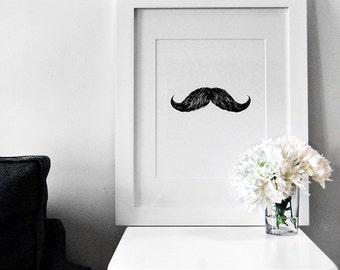 Fashion Illustration: Men's Moustache / Mustache Movember Art Print (Charcoal + Mixed Media)