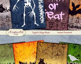 75% OFF SALE Happy Halloween - Digital Collage Sheet Digital Cards C113 Printable Download Image Tags Digital Atc Card ACEO Halloween Cards