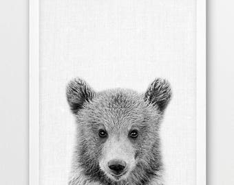 Bear Print, Cute Baby Bear Cub Photo Print, Woodlands Animals Art, Nursery Wall Art, Black White Photography, Kids Room Printable Decor Art