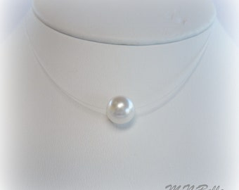 Floating White Pearl- Illusion Necklace - Single White Floating Pearl Illusion Necklace - Wedding Jewelry