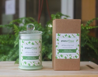 Green Tea Lemongrass Scented Soy Candle