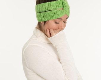 Lime Green Knit Double Twist Crocheted Headband / Earwarmer, Handmade, Crocheted, Women's Hair Accessory, Workout Headband, Knit