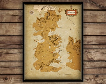 Game of Thrones map - Game of Thrones gift - Westeros map poster print - Game of thrones wall map - gift for Him - winter is coming