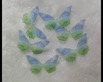 Spring Wings Jewelry - 4CM Silk Organza Butterfly Wings With Blue And Green Color -10 Pieces