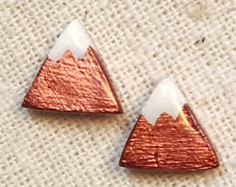 Mountain earrings, triangle studs, triangle earrings, minimalist earrings, tiny earrings, clay earrings, colorado, rocky mountains, copper