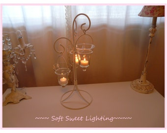 Adorable Romantic Shabby Glass Candle Sconce~