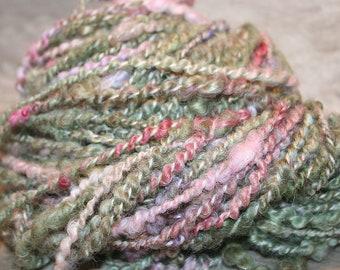 Bulky Textured Art Yarn, Knitting supply, Handspun Art yarn, Bulky yarn, Wensleydale, Handdyed, Corespun Spiral plyed, handspun wool  A41018
