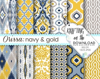 navy and gold ikat digital paper pack ikat design navy blue, gold yellow, grey scrapbooking papers ikat digital paper boho paper pack