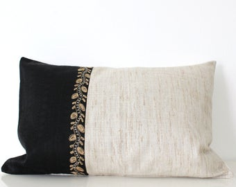 Boho pillow cover: bohemian pillow in natural silk and vintage embroidery, global decor pillow