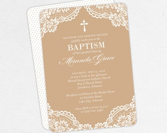 Baptism Invitation, Christening Invitation, Girl Baptism, Printable Baptism Invitation, PDF, Lace, Burlap, Rustic, Cross, Kraft, Miranda