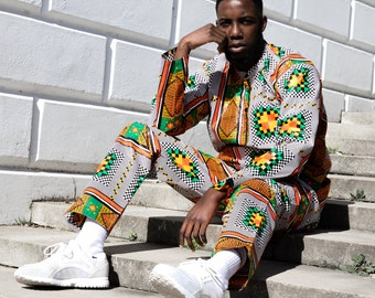 Mens Trousers African African Print Pants Hareem Pants Tribal Trousers Kente Dashiki Festival Clothing Tribal Pants Festival Trousers