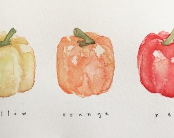Three Bell Peppers Original Watercolor Painting, 4x7.5""