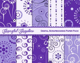 Scrapbook Paper Pack Digital Scrapbooking Background Papers Cosmic Swirls Pack Purple Lilac Lavender White 10 Sheets 8.5 x 11 1310gg