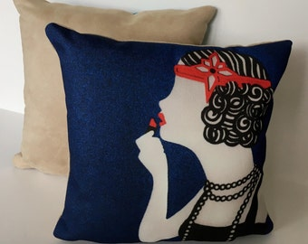 "Art Deco Flapper Girl 11"" x 11"" Cushion"