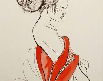 Print of my red Geisha  / Asian art girl / delicate japan art / beautiful Geisha of Japanese illustration