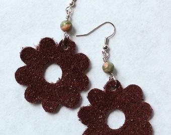 Earrings Leather Flower Espresso Brown