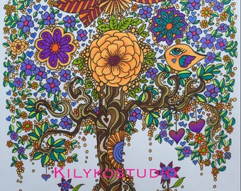 Tree of life coloring page instant download printable pdf art for coloring in