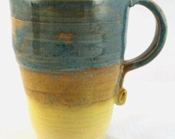 Wheel Thrown Stoneware Pottery Lg Mug Coffee Beer Cocoa Turquoise Yellow 20 oz.