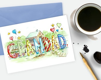 Grandad Card, Watercolour Art, Fathers day card, Grandad birthday card, Grandads Shed, Garden Allotment Card, special grandfather gift