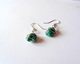 Turquoise earrings, drop earrings, dangle earrings, wire wrapped earrings, wire wrapped Turquoise, blue earrings, Turquoise jewelry