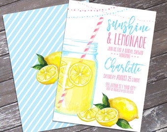 Lemonade Bridal Shower Invitation - Sunshine & Lemonade, Mason Jar Invite, Summer Shower  | Editable Text - Instant Download PDF Printable