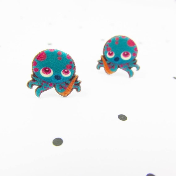 Blue octopus, octopus earring, pink and blue octopus, earring, print on plastic, stainless stud, handmade, les perles rares
