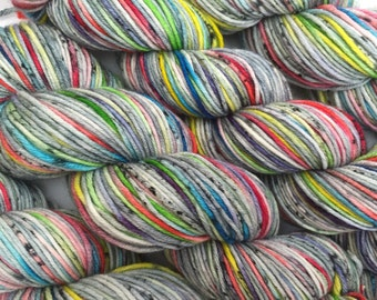 Grey Pop Fizzle  - dyed to order- super wash merino 100 grams hand dyed yarn,variegated yarn,  indie yarn,kate selene