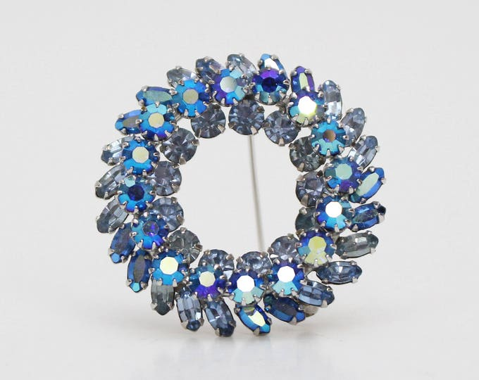 Vintage 1950s Blue Sherman Rhinestone Wreath Brooch