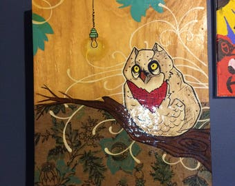 Wooden Owl Painting