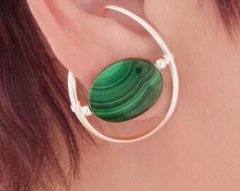 Sterling Silver unpierced earrings, non-pierced Malachite ear cuff ear wrap, clip on comfortable Illuzio Unusual Earrings deep green