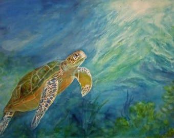 Turtle Honu Painting Art  Print