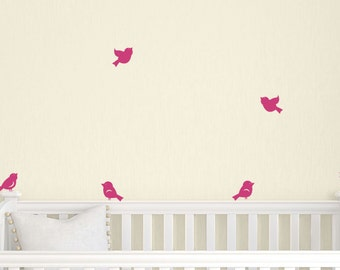 ON SALE Little Birds Wall Decals - Set of 8 - Nursery Wall Decal - Children Vinyl Decals