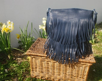 Navy blue fringe bag in leather and handmade