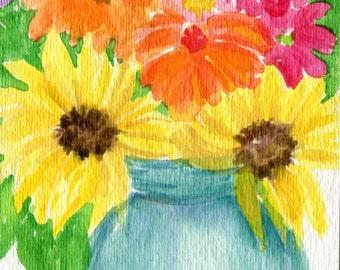 Original Zinnien, Sonnenblumen Aquarell, blaue Canning Mason Jar 4 x 6 Aquarelle Blumenmalerei, kleine Mauer Blumenkunst, florale Kunstwerke