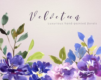 Flower Watercolour Clipart, Hand Painted Graphics - Velveteen