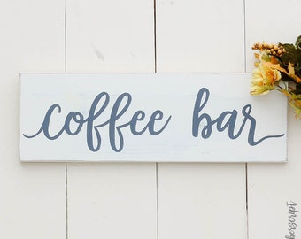 Coffee Sign Decor / Distressed White Sign / Coffee Bar / Farmhouse Coffee Decor / White Sign Chic / Sign for Coffee Shop