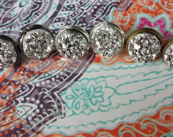 Faux Druzy Chunky Silver 12mm Studs- Silver Studs - Bridal Party Gift - Druzy Earrings
