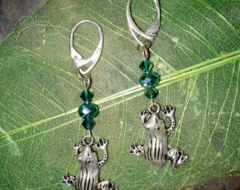 Frog charm earrings ~ Boho earrings ~ Bohemian earrings ~ Green crystal earrings ~ Dangle and Drop earrings