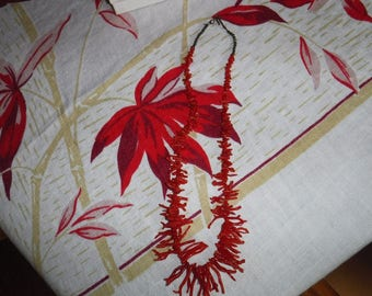 Red Coral Branch Necklace 20""