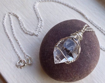 Herkimer Diamond (Raw) Necklace - Double Terminated Quartz Crystal - .925 Ecofriendly Sterling Silver - Made to Order